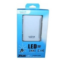 Power Bank Winx TL075 - Capacité: 7500 mAh - Couleur Blanc - Torche LED - 2x USB - Sortie 5V-2.1A & 5V-1A
