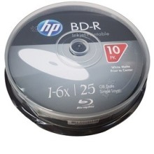 BOITE DE 10 DVD HP BLU RAY SIMPLE COUCHE 25GB