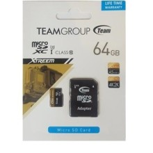 Carte Mémoire Micro SD 64GO TEAM GROUP (TUSDH64GUHS03) Class 10 avec Adaptateur