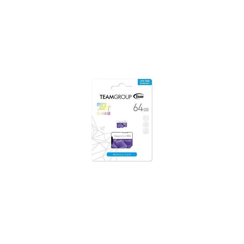 Carte Mémoire Micro SD 64GO TEAM GROUP  Class 10 avec Adaptateur