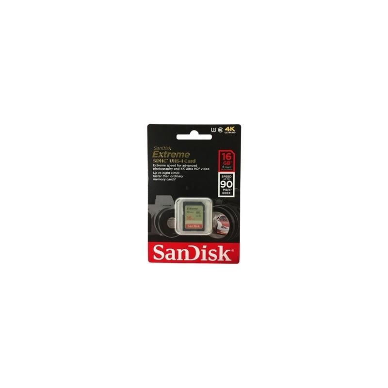 CARTE MEMOIRE Sandisk Extreme SDHC UHS-I 16Go Class 10