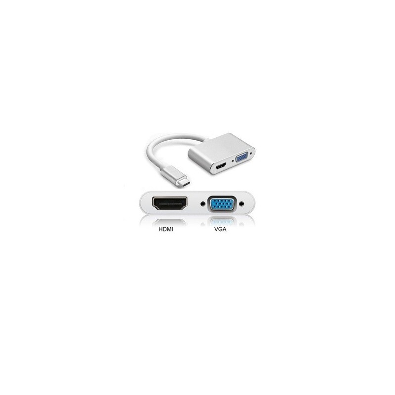 ADAPTATEUR USB TYPE C VERS HDMI ET VGA