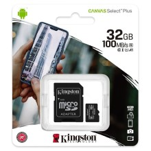 Kingston Canvas Select Plus microSD Carte 32 GB, Class 10/UHS-I Avec Adapteur